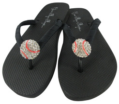 d6a026500b5f Black Baseball Bling Flip Flops  All Ladies Sizes  amp  Girls  Team Colors -