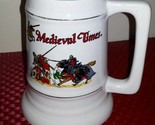 NEW MUG Knights Tournament Medieval Times Hand Decorated Large Stein White 32oz