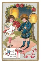 Best Wishes Boy Girl Roses Paper Lanterns Children Embossed Gold Gilt Po... - $9.99