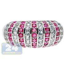 925 Sterling Silver 2.43 ct Ruby Topaz Gemstone Womens Dome Band Ring - $117.81