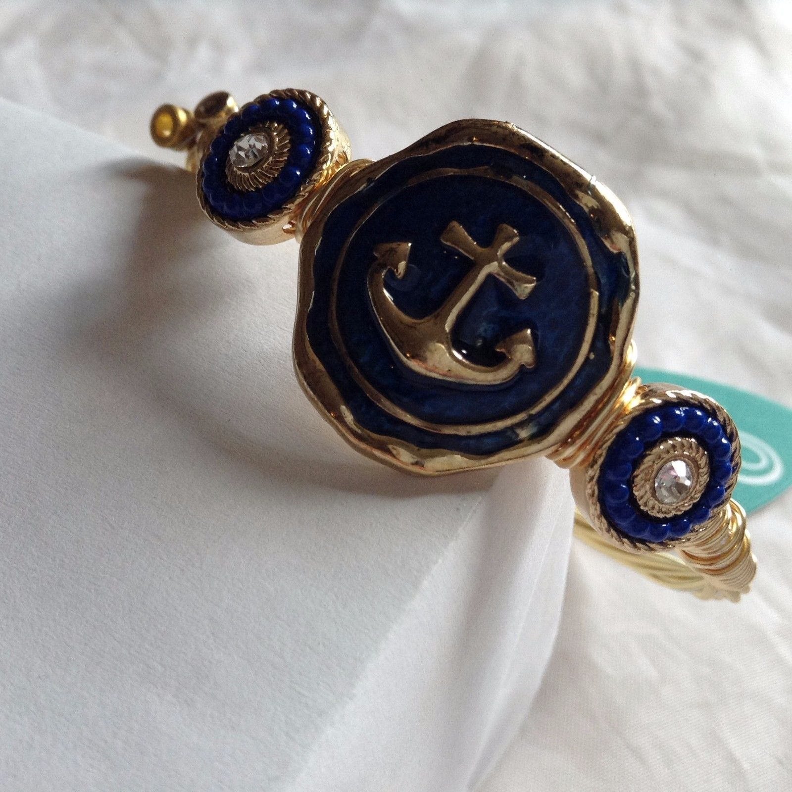 New String Theory made of guitar strings w nautical anchor marine blue bracelet