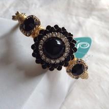 New String Theory made w guitar strings w black flower center stone #14 bracelet