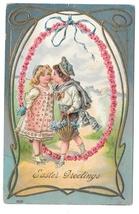 Easter Greetings 1908 Boy Kissing Girl Children Embossed Gold Gilt Postcard - $7.99