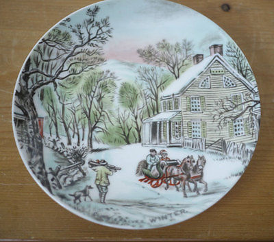 Vintage Currier & Ives Country Christmas WINTER Scene Japan Porcelain Plate 6.5""
