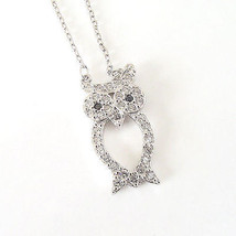 New Sterling Silver CZ Owl Pendant Necklace Sterling Silver Adjustable C... - $24.75