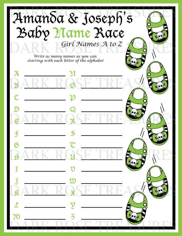 Punk Princess Girly Skull Baby Shower Name game Cards activity Printable DIY