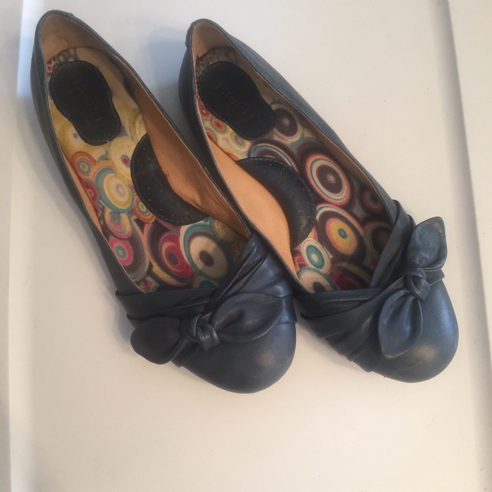 Born Dusty Blue Leather Ballet Flats with Bow Detail 8.5 M Slip On Loafers