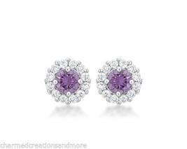 Bella Bridal Halo 2.52ct Cubic Zirconia February Birthstone Stud Earrings - $19.79