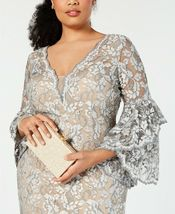 Betsy & Adam Embellished Lace Gown Grey/Nude Plus Size 14W $355 image 5