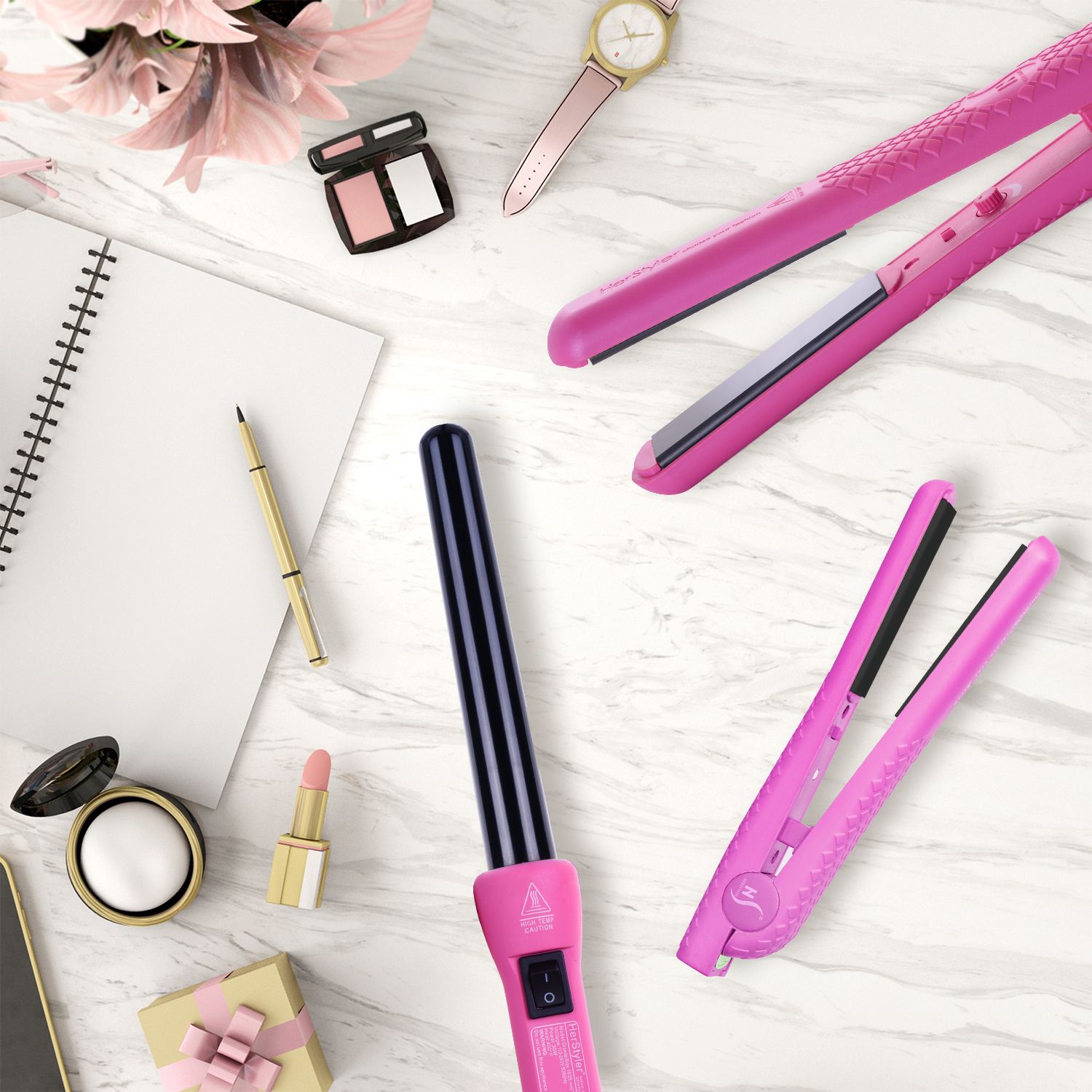 Herstyler Complete Flat Iron and Curling Iron Set | Dual Voltage | Pink