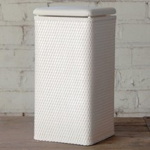 White Laundry Clothes Hamper Basket with Lid Square Storage Bin Organize... - $67.34