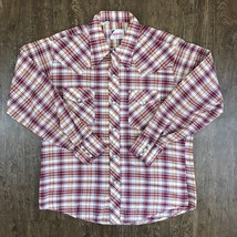 Vintage 60s-70s Rappers Mens Western Plaid Pearl Snap Red Shirt - $42.08