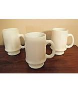 Hazel Atlas White Opalescent Orange Peel Pebble Textured Mugs, Vintage S... - $18.99