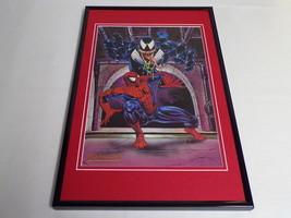1993 Spider-Man Venom Marvel Masterpieces Framed Vintage 12x18 Poster Di... - $65.09