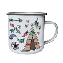 NEW hand drawn boho elements Retro,Tin, Enamel 10oz Mug i873e - $13.13