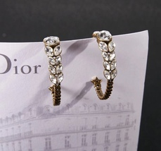 AUTH NEW Christian Dior 2019 Dio(r)evolution CRYSTAL AGED GOLD HOOP EARRINGS  image 6