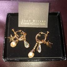 Joan Rivers Gold Tone Screw Back Museum Charm Earrings Box And COA - $9.99