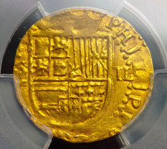 SPAIN 1556-98 2 ESCUDOS DOUBLOON TREASURE JEWELRY PIRATE GOLD COINS NECK... - $2,950.00