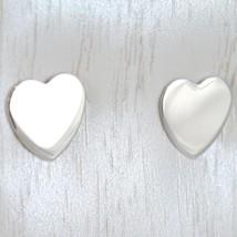 Boucles D'Oreilles or Blanc 750 18K A Lobe, avec Coeur Plat, Cœurs Longueur image 1