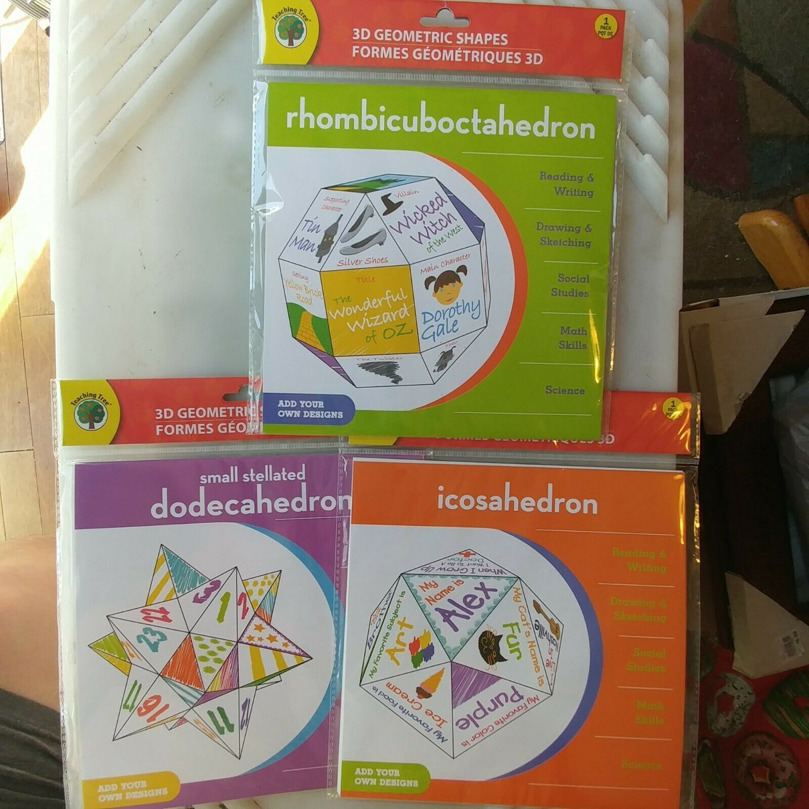 Primary image for 3D Geometric Shapes: Rhombicuboctahedroni, Icosahedron & Dodecahedron Brand New