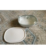 1980s Corning Ware French White 1.5 Qt Oval Casserole, Glass Lid, Plasti... - $20.00