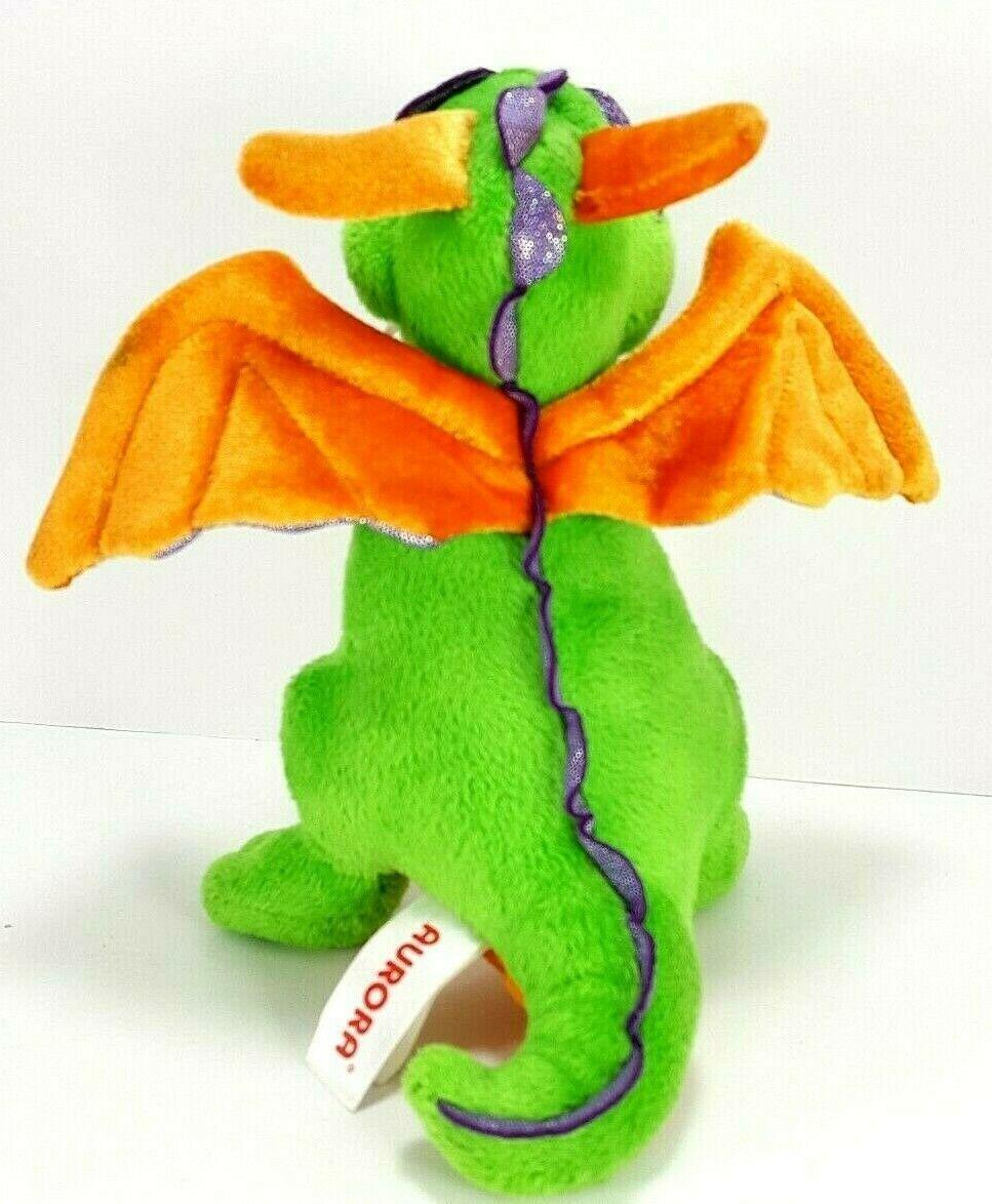 "Aurora World Plush 7"" Green Orange Dragon Legendary Friends Dragon with sound image 2"