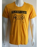 Playstation Mens Graphic Tee Yellow 100% Cotton Size L T-Shirt - $20.38