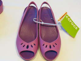Womens crocs mabyn mini wedge wild orchid RARE sandal shoe W 10 strappy sexy - $28.32