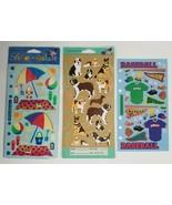 Vintage STICKOPOTAMUS Baseball Dogs Beach Vacation Scrapbook Binder Stic... - $9.99