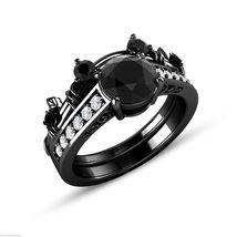 14K Black Gold Finish Simulated Diamond Mickey Mouse Bridal Wedding Ring Set - $93.49