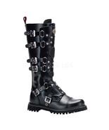"DEMONIA Gravel-22 1 1/4"" Heel Knee-High Boots - Black Leather - $100.95"