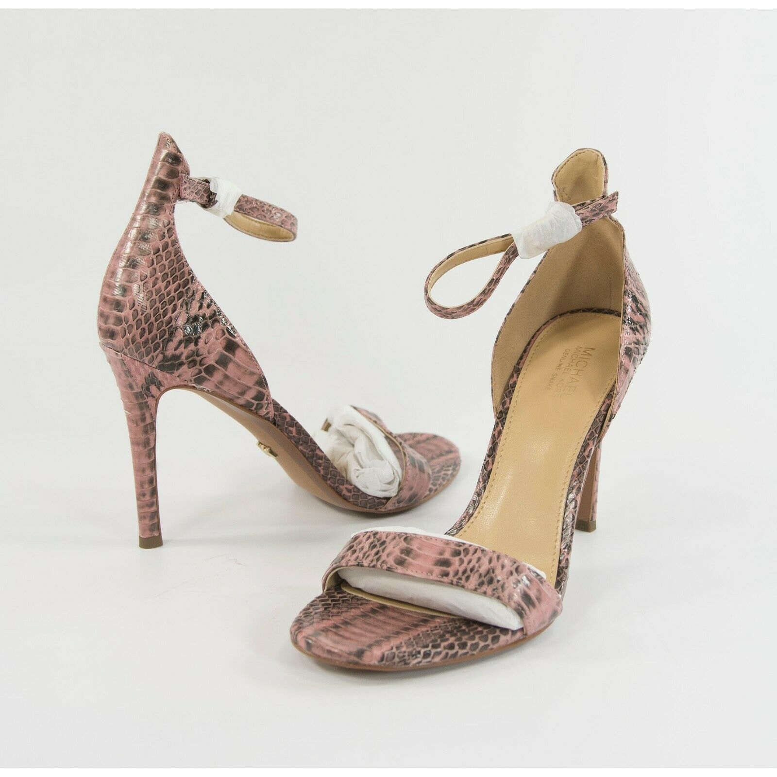 Primary image for Michael Kors Harper Rose Genuine Snake Ankle Strap High Heel Pumps 6.5 NIB