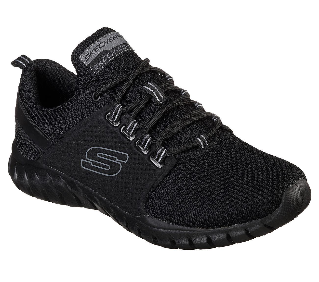 52821 Wide Fit Black Skechers shoe Men Memory Foam Sport Comfort Train Walk Mesh