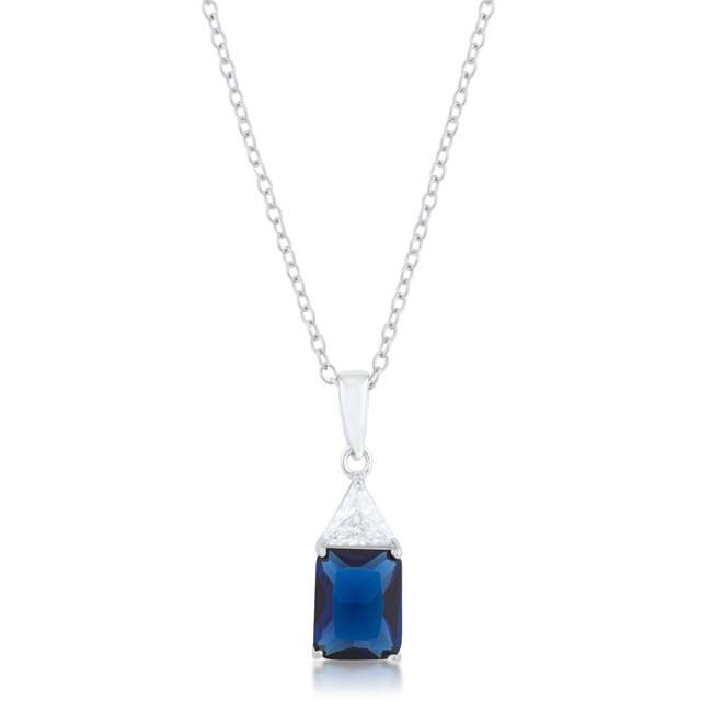 Classic Sapphire Cubic Zirconia Sterling Silver Drop Necklace - $38.00