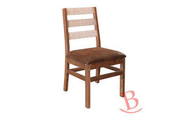 Chair With Ladder Back Faux Leather Seat Solid Wood Brown & White Finish - $242.55