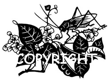 IVY PLANT WITH GRASSHOPPER new mounted rubber stamp