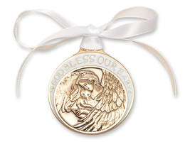 Crib Medal - Gold Finished Baby w/Angel  with White Ribbon