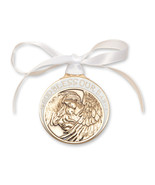 Crib Medal - Gold Finished Baby w/Angel  with White Ribbon - $39.99