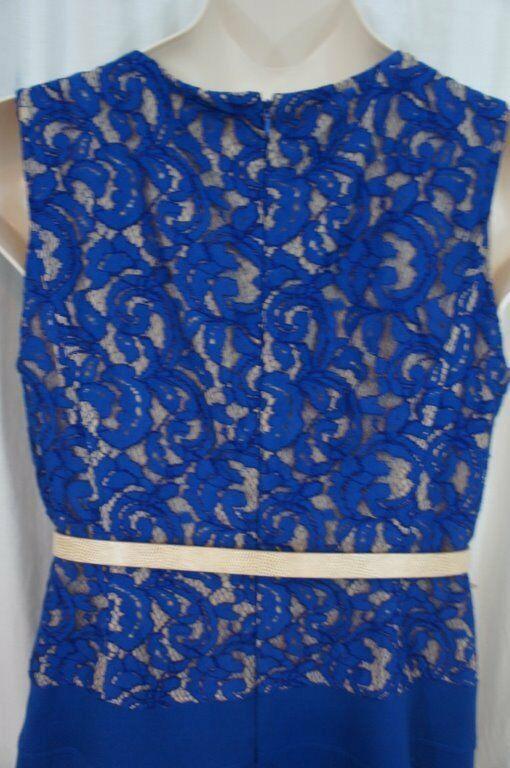 Anne Klein Dress Sz 12 Cerulean Blue Khaki Illusion Lace Belted Career Cocktail