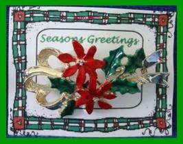 Christmas PIN #0189 Vintage Gerrys Red Poinsettia & Holly Enamel Pin Gol... - $22.72