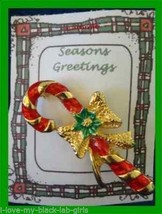 Christmas PIN #0209 Signed AAI Vintage Candy Cane Red & Green Enamal & G... - $24.70