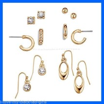 Earring Geometrics 6 Pairs Earring Set ~ Goldtone Pierced Earrings ~ NEW Boxed ~ - $24.70