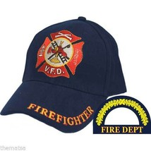 FIREFIGHTER FIREMAN FIRE GOLD WREATH MALTESE EMBROIDERED BLUE  HAT CAP - $34.64
