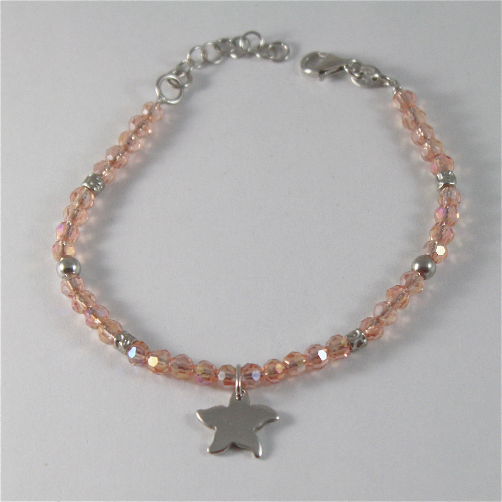 925 SILVER BRACELET WITH STARFISH AND MULTIFACETED BALLS MADE IN ITALY 59,00 USD