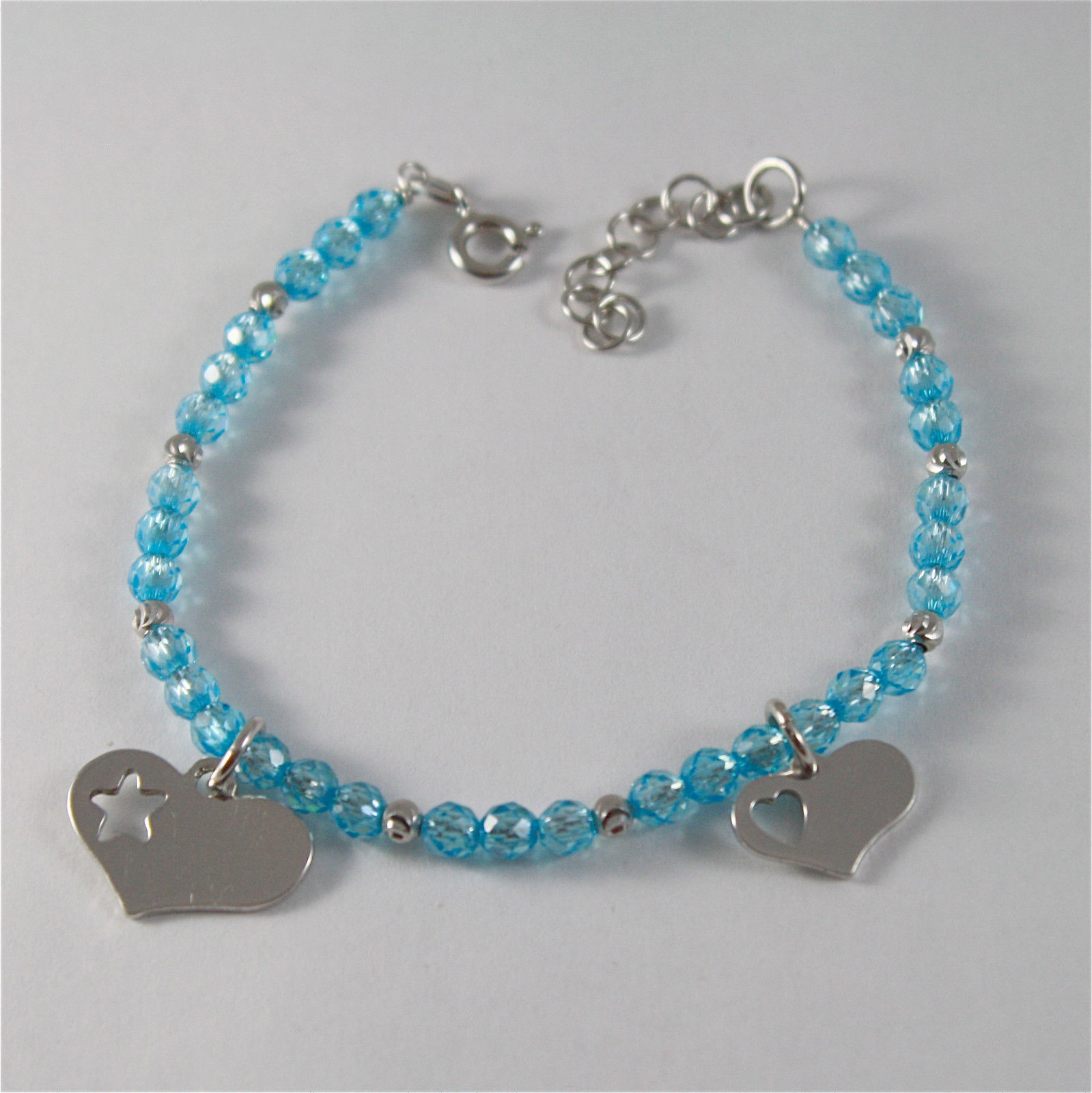 925 SILVER BRACELET WITH HEARTS AND BLUE CUBIC ZIRCONIA MADE IN ITALY 59,00 USD