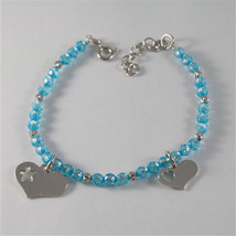 925 SILVER BRACELET WITH HEARTS AND BLUE CUBIC ZIRCONIA MADE IN ITALY 59,00 USD image 1
