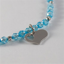 925 SILVER BRACELET WITH HEARTS AND BLUE CUBIC ZIRCONIA MADE IN ITALY 59,00 USD image 2
