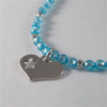 925 SILVER BRACELET WITH HEARTS AND BLUE CUBIC ZIRCONIA MADE IN ITALY 59,00 USD image 3