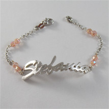 925 SILVER BRACELET WITH NAME STEFANIA & CUBIC ZIRCONIA MADE IN ITALY 79,00 USD image 1