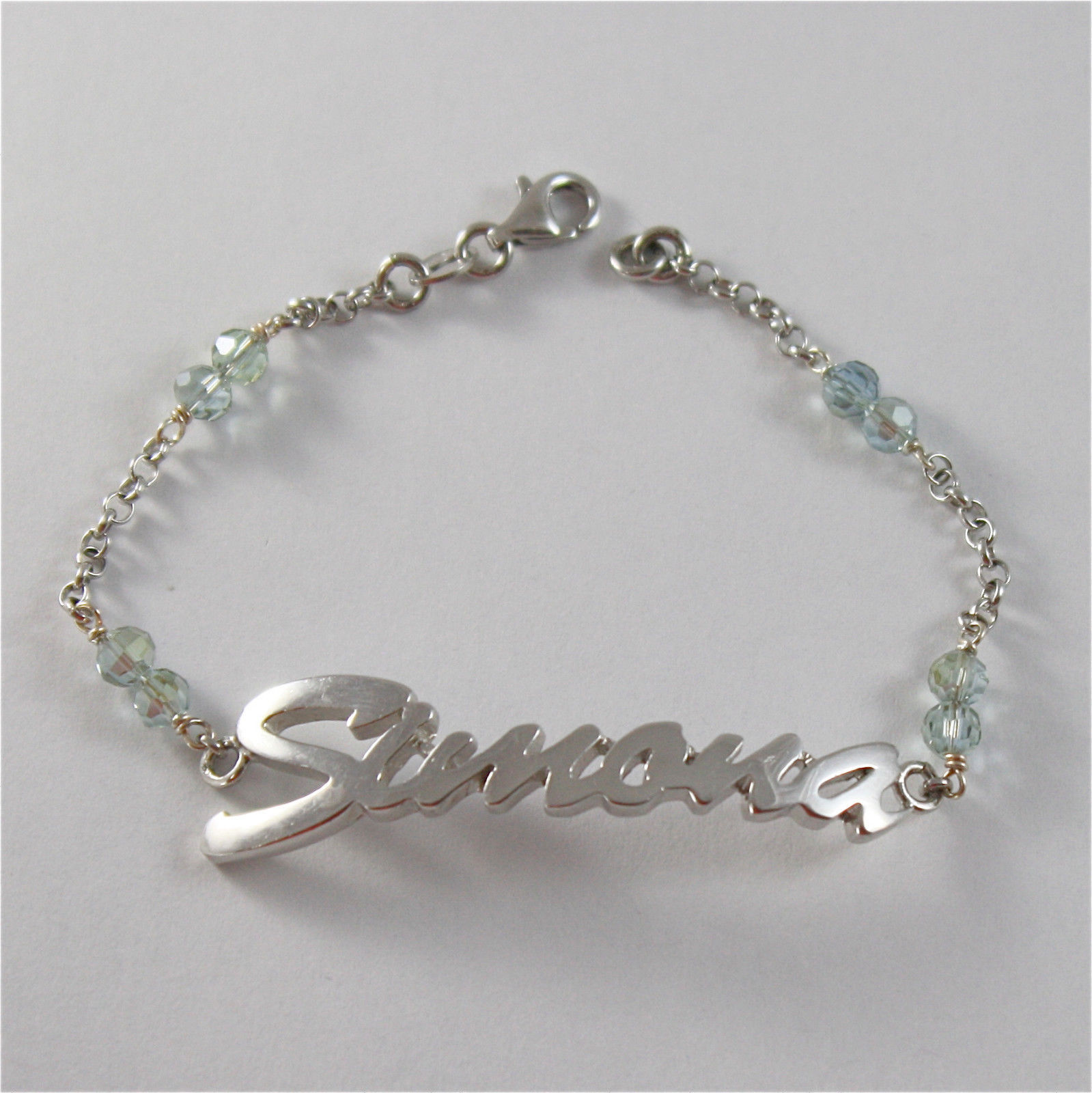 925 SILVER BRACELET WITH NAME SIMONA AND CUBIC ZIRCONIA MADE IN ITALY 79,00 USD
